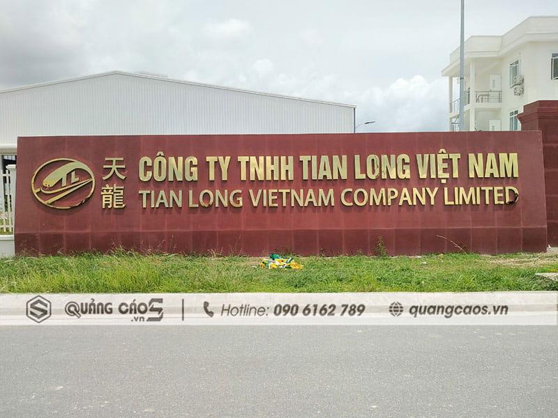 Làm Biển quảng cáo công ty Tian Long - KCN Đồ Sơn Hải Phòng