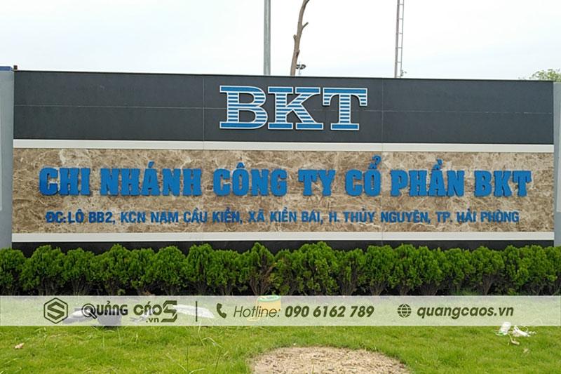 Làm biển hiệu quảng cáo công ty BKT - KCN Nam Cầu Kiền, Hải PHòng
