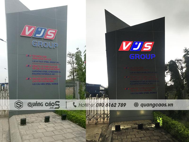 Thi công biển quảng cáo công ty VJS tai KCN Nam Cầu Kiền Hải Phòng