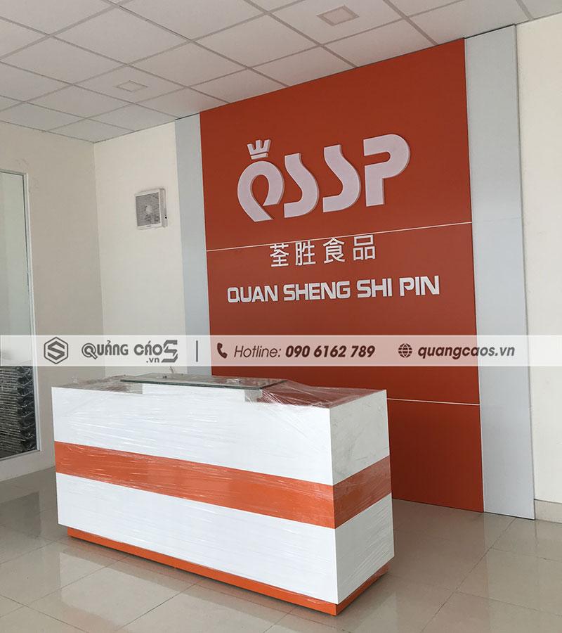 Làm vách lễ tân đẹp công ty QSSP tại KCN Tràng Duệ Hải Phòng