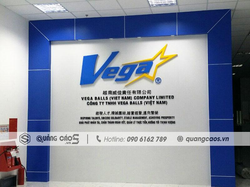 Vách lễ tân công ty Vega Ball - Quảng Ninh