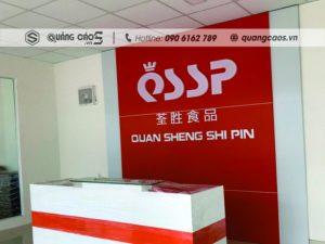 Thi công biển quảng cáo vách lễ tân công ty QSSP - Khu công nghiệp Tràng Duệ, Hải Phòng
