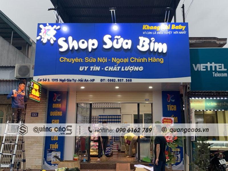 Biển quảng cáo Shop Bỉm Sữa Khang Chi Baby