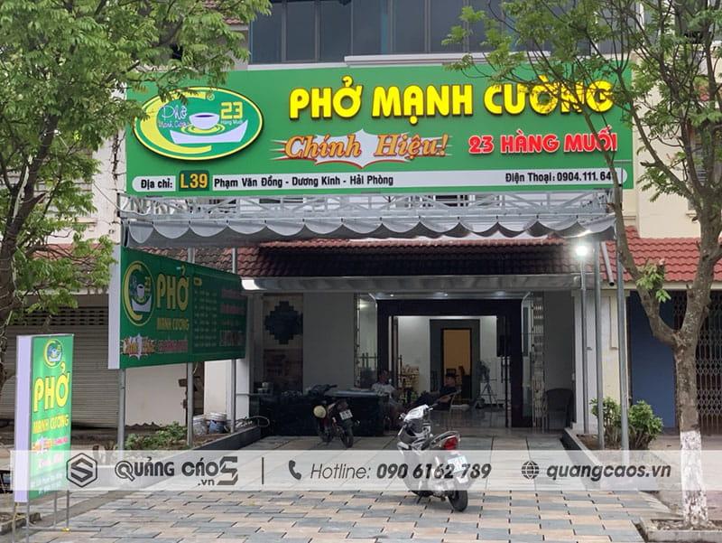 Làm biển quảng cáo Phở Mạnh Cường- 39 Phạm Văn Đồng, Dương Kinh, Hải Phòng