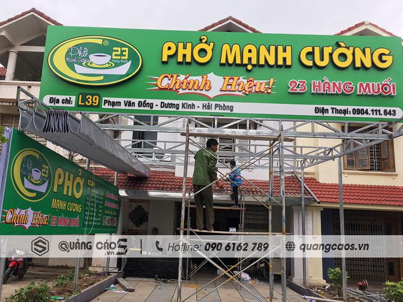 Thi công biển quảng cáo Phở Mạnh Cường - 39 Phạm Văn Đồng, Dương Kinh, Hải Phòng