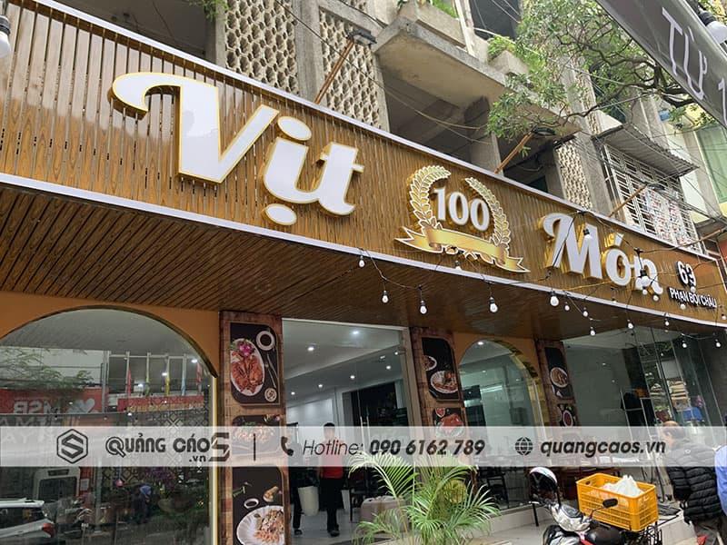 Làm biển quảng cáo Vịt 100 Món tại 69 Phan Bội Châu
