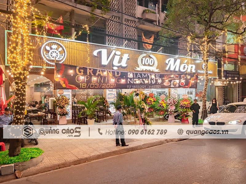 Làm biển quảng cáo Vịt 100 món tại 69 Phan Bội Châu Hải PHòng