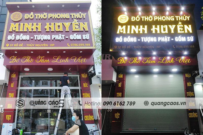 Biển quảng cáo kết hợp Alumex và mica, đèn LED