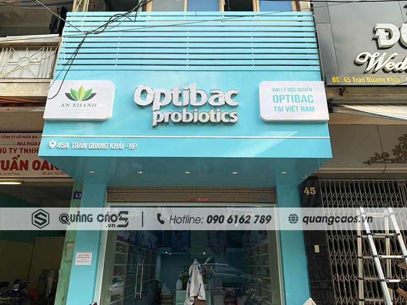 Làm biển hiệu cửa hàng Optibac tại Trần Quang Khải Hải Phòng